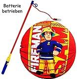 alles-meine.de GmbH 2 TLG. Set: Laterne / Lampion + LED Laternenstab -  Feuerwehrmann Sam - Jones  - aus Papier - RUND - für Kinder Papierlaterne - Lampe - Laternen Lampions - ..