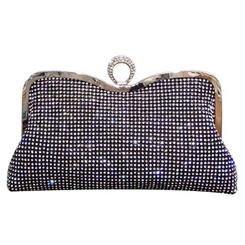 Syrads Damen Abendtasche Handtasche Strass Ring Clutch mit Schulterkette Schultertasche Glitzer Hochzeitsfeier Brautparty Handtasche