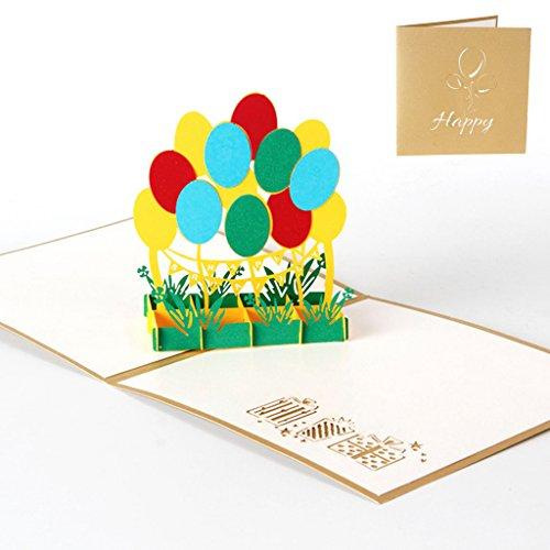 Landum 3d pop up colorato palloncino san valentino biglietto d' auguri di natale di compleanno invito