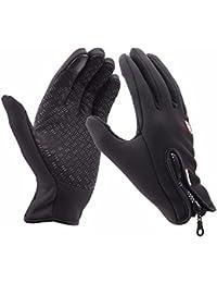NANHONG impermeable pantalla táctil en invierno exterior bicicleta guantes tamaño ajustable negro