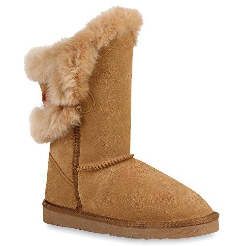 Damen Stiefeletten Leder Schlupfstiefel Boots Kostüm skostüm Indianer Fransen Squaw Pocahontas Schuhe 58354 Camel 37 | Flandell® (Camel Kostüme)