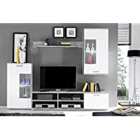 AVANTI TRENDSTORE - Felipe - Parete da soggiorno in laminato di colore bianco e cemento d'imitazione. Illuminazione LED compresa, dimensioni: LAP 230x185x38 cm