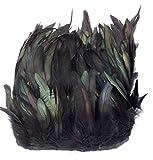 ERGEOB® Echte Hahnenfedern auf 200cm Stoffstreifen in Schwarz - 13 Farbvarianten - Ideal für Fasching, Karneval, Halloween, Basteln, Bekleidung, Kostüme.