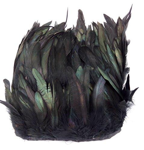 ERGEOB® Echte Hahnenfedern auf 200cm Stoffstreifen in Schwarz - 13 Farbvarianten - Ideal für Fasching, Karneval, Halloween, Basteln, Bekleidung, - Kostüm N Mehr