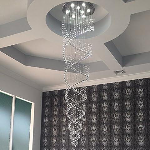 Saint Mossi® Moderner LED-Kronleuchter mit Kristalltropfen Unterputzgehäuse Spiral-Design Deckenleuchte