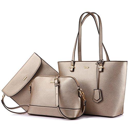 LOVEVOOK Handtasche Damen Schultertaschen Handtasche Tragetasche Damen Groß Designer Elegant Umhängetasche Henkeltasche Set 3-teiliges Set Khaki