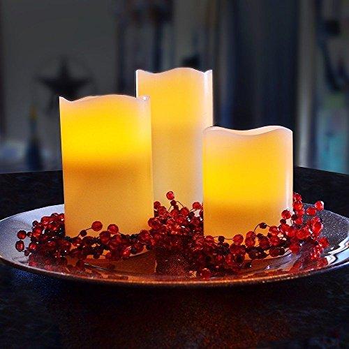 3er Set LED Kerzen Flammenlose Echtwachskerze mit beweglicher Flamme Timerfunktion mit Fernbedienung Warmweiß Batteriebetriebene Kerze Lampe Schlafzimmer Wohnzimmer Deko für Hochzeit, Geburtstags