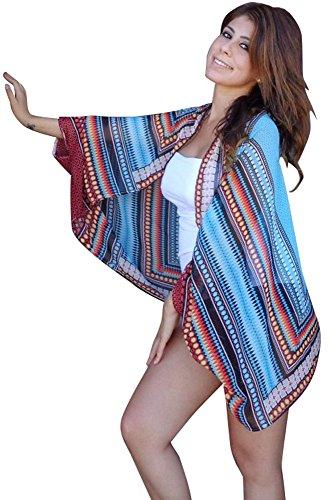 New Damen Cape & Multi Print Beach blau Beachwear Cover Up Sommer tragen Kaftan Größe M UK 10–12EU 38–40 (Garten Kaftan)