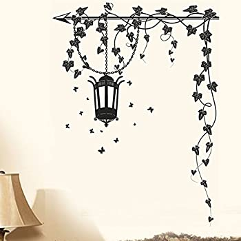 Decals Design 5785 StickersKart Wall Stickers Hanging Lamp and Vines Black Wall Covering Area: 90cm x 90cm(Multicolor)