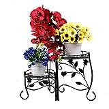 Homewell stabile Plant stand sostegno appoggio piedi da scaffale per vasi da fiori, 3ripiani pieghevole di metallo resistente in acciaio con piedistallo per porta in e out Door decorazione
