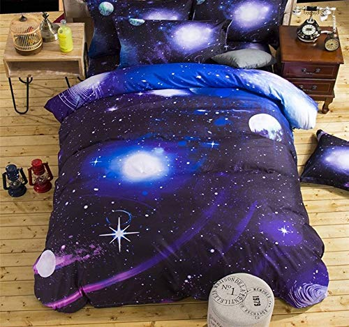 WNJ-bedding Bettdecken-Sets 2019, 3/4 STÜCKE 400TC 3D Universum Sternenhimmel Bettwäsche Bettwäsche Cosmos Nacht Bettbezug Raum Thema Twin Queen Size Bettlaken (Size : Twin 4pcs) - Twin-size-bettlaken