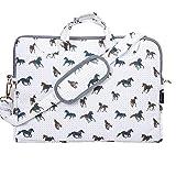 """TaylorHe 15"""" 15,6"""" Borsa per notebook borsa a tracolla per PC portatili Laptop Case con manici e tracolla tasche per accessori, cavalli, grigi"""