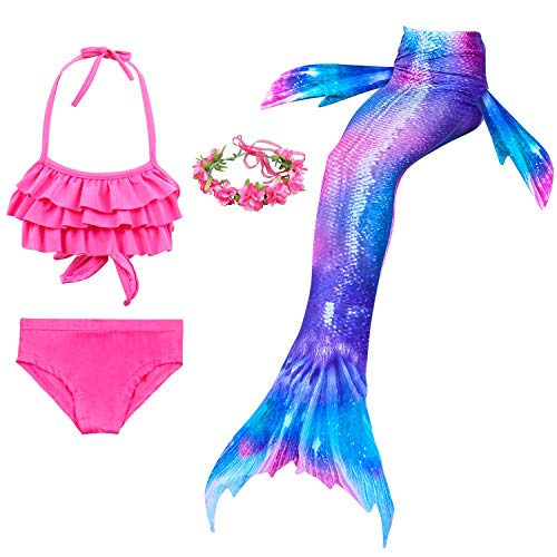 Mother & Kids Fancy 3pcs Kids Mermaid Mermaid Tail Beach Swimsuit Cosplay Costume Kids Mermaid Bikini Setmermaid Tails Extremely Efficient In Preserving Heat