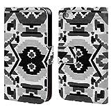 Head Case Designs Offizielle Amanda Laurel Atkins Aztekisch Schwarz Muster Brieftasche Handyhülle aus Leder für iPhone 4 / iPhone 4S