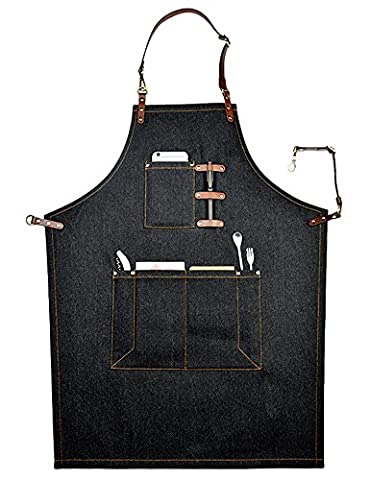 Bhome Cool Men Women Cooking Catering Work Apron Chef Works with Adjustable Straps Multi Pockets