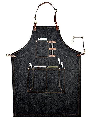 perfashion grembiule in cotone con poche-licou Unisex Stile di casa & Ristorante Bistro BBQ Scuola Collegio, marrone, M