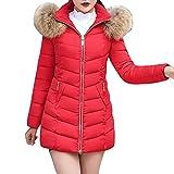 JUTOO Mode-Winter-Frauen-Jacken-Langer starker Warmer dünner Mantel-Mantel(Rot,XX-Large)