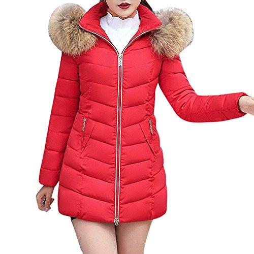 Beikoard Vestiti Donna Invernali,Cappotto Donna Cappotto Sottile Cappotto Sottile Cappotto Invernale Casual Donna Moda Solido(Rosso 4,L)