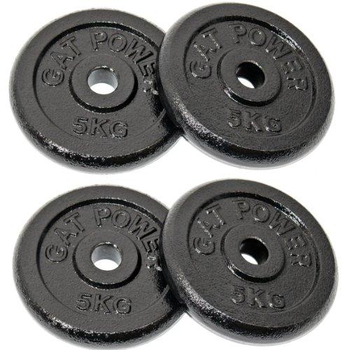 GAT POWER Hantel Gewichte 4x 5 Kg = 20kg - Hantelscheiben aus Gusseisen mit 30/31 mm Bohrung