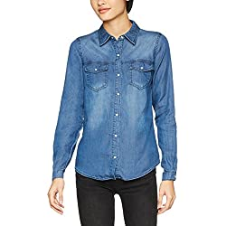 Vila Clothes Vibista Shirt-Noos Blusa, Azul (Dark Blue Denim Wash: Clean), 34 (Talla del Fabricante: X-Small) para Mujer