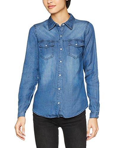 Vila Clothes Damen VIBISTA Shirt-NOOS Hemd, Blau (Dark Blue Denim Wash: Clean), 38 (Herstellergröße: M)
