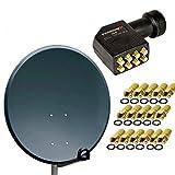 Antenne PremiumX PXA80 Aluminium 80 cm Digital Sat Schüssel Spiegel in Anthrazit FullHD HDTV 3D tauglich NEU + LNB Octo 0,1 dB PremiumX PXO-08 zum Direktanschluss von 8 Teilnehmern Digital HDTV FullHD 3D tauglich + 16 F-Stecker vergoldet