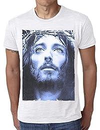 Jesus Christ Blue: T-shirt,cadeau,Homme,Blanc,t shirt homme