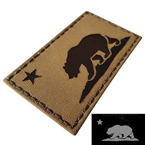 Coyote Brown Infrared IR California Republic State Flag 3.5x2 Tan Arid IFF Tactical Morale Touch Fastener Patch -