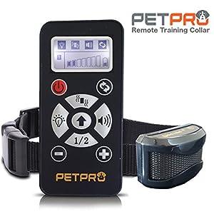 Petpro Collier de dressage de chien à distance avec contrôle automatique anti aboiement, 731,5m Portée, imperméable à l'eau, rechargeable, 7Niveau avec avertissement de dressage d'animaux, améliorer, vibrations, Lampes de signal, sûr et cruauté gratuit
