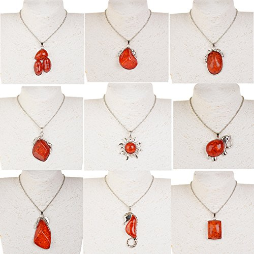 hot-red-silver-plated-artificial-amber-long-chain-necklace-pendent