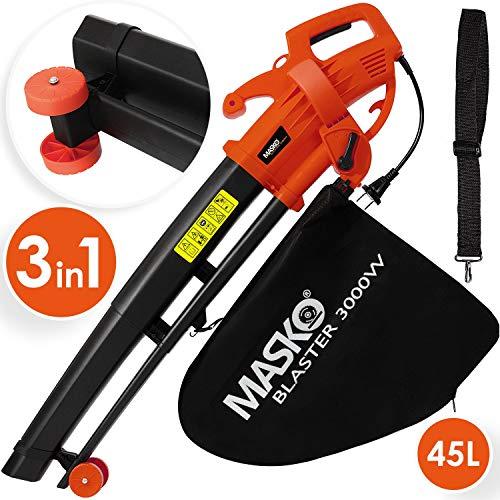 MASKO® Elektro Laubsauger | 3 in 1 | 3000W | Schultergurt und Rollen | Fangsack 45L | Laubbläser Gartensauger Gartenbläser Rot