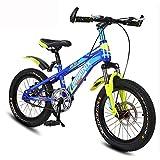 Kinder Fahrrad 7-10 Jahre Old Boy Mountain Bike 18 Zoll Doppelscheibenbremse High Carbon Steel Fahrrad 4 Corlors (Farbe : Royal Blue)
