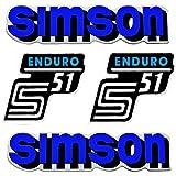 SET: Aufkleber Klebefolie - Blau - für SIMSON S51 Enduro 2x Seitendeckel 2x Tank ( U-821218 )
