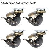 Paracity 4pcs Ball Caster ruota girevole di 360piatti in metallo con cappuccio rotondo a forma di freno resistente per sedie da ufficio, tavolino da caffè giocattolo scarpe bidoni, 2inch(50mm)-With Brake
