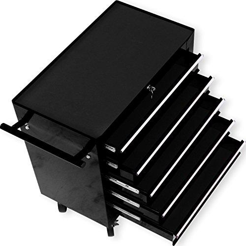 Masko® Werkstattwagen - 5 Schubladen, schwarz ✓ Abschließbar ✓ Massives Metall | Mobiler Werkzeug-Wagen ohne Werkzeug | Profi Werkstatt-Wagen | Rollwagen zur Werkzeugaufbewahrung mit Schloss | - 2