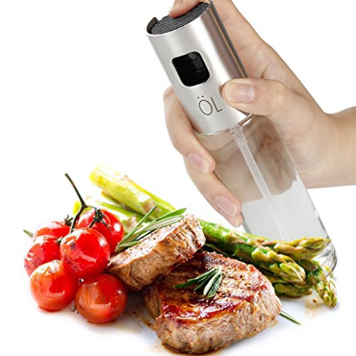 Nebulizzatore Olio Cucina in Vetro, Bidear Oliva Aceto Distributore Oil Spray Bottiglia per Pasta, Insalata, Padella, Griglia, Barbecue (100 ml)