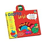 GIOTTO be-bè 462900 - Set súper pasta para jugar, con 6 moldes con formas de animales, 2 accesorios para modelar y 3 botes de paste de 100 g, colores surtidos
