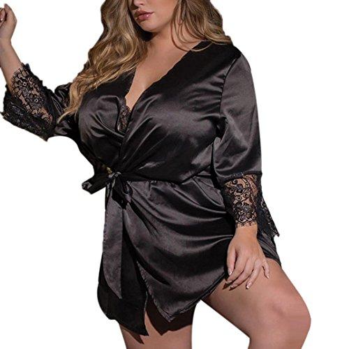 Dessous Erotik Damen Set Hot Seide Kimono Morgenmantel Babydoll Lace Lingerie Bademantel Nachtwäsche (L2, Black)