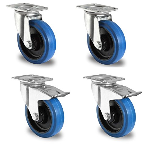 1 Satz Blue Wheels Transportrollen 125mm 200kg / Rolle Lenk/FS Test