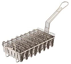 Browne Foodservice TB8M Chrome Plated Heavy-Duty Taco Fry Basket, 8-Shells