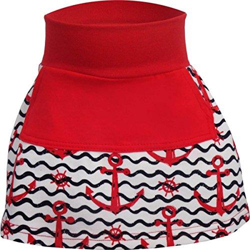 Baby/Kinder Rock mit Großer Tasche Sophie (Farbe Anker-Rot/Bund Rot) (Größe 128-140)