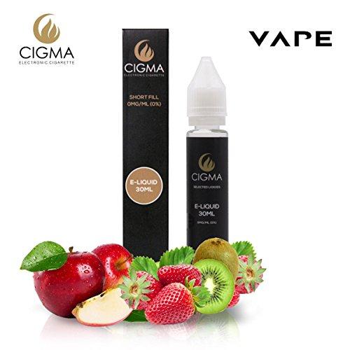 CIGMA Apfel Kiwi Erdbeere 30ml E Liquid 0mg | Neue Kurz gefüllte Flaschen | Premium Qualitätsformel nur mit hochwertigen Zutaten | Hergestellt für elektronische Zigarette und E Shisha | Eliquid (Erdbeer-saft-konzentrat)