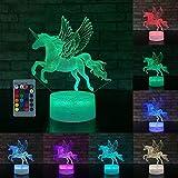 Lámpara 3D, luz de la noche de regalos para niños, 7 colores cambian con el día de fiesta remoto y regalos de cumpleaños Ideas para niños [Clase de eficiencia energética A +++]