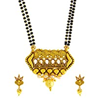Anuradha Art Golden Finish Styled with Studded Stone Designer Fancy Traditional Mangalsutra Set for Women
