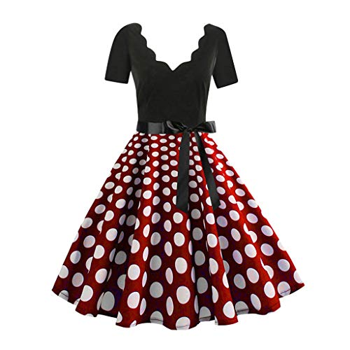 Cramberdy Kleider Damen Rockabilly Kleid Elegante Kleider Lange Kleider Frauen Retro Sommer Festliche Damenkleider Knielang - Damen Vintage Bodycon Ärmellose Abend Party Prom Swing Dress (Lange Prom Kleid Glitzer)