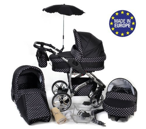 3-in-1 Travel System with Baby Pram, Car Seat, Pushchair & Accessories, Black & White Polka Dots, Twing 51PI7k 2BRT8L