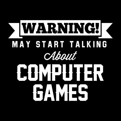 Warning May Start Talking About Computer Games Men's Hooded Sweatshirt Black