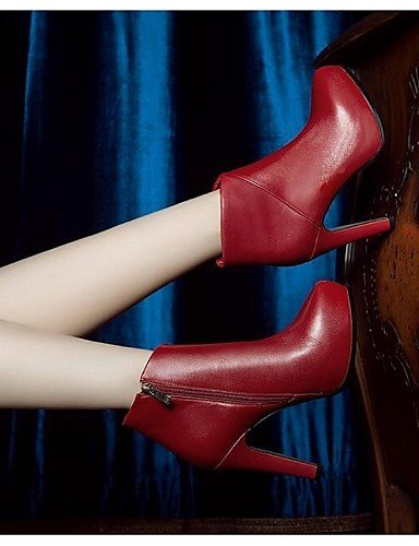 CU@EY Da donna-Stivaletti-Tempo libero-Anfibi-A stiletto-Di pelle-Nero / Rosso red-us7.5 / eu38 / uk5.5 / cn38