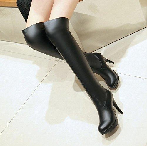 Stiefel toe Schwarz Trichterabsatz Damen simpel Shoes runder langschaft Plateau Mee XfST84x