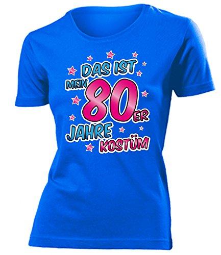 80er Jahre Kostüm Kleidung 4522 Damen T-Shirt Frauen Karneval Fasching Faschingskostüm Karnevalskostüm Paarkostüm Gruppenkostüm Blau ()